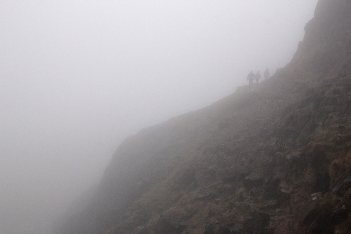 Thick cloud on the Corridor Route - Scafell Pike. Mountain Navigation for Photographers Course