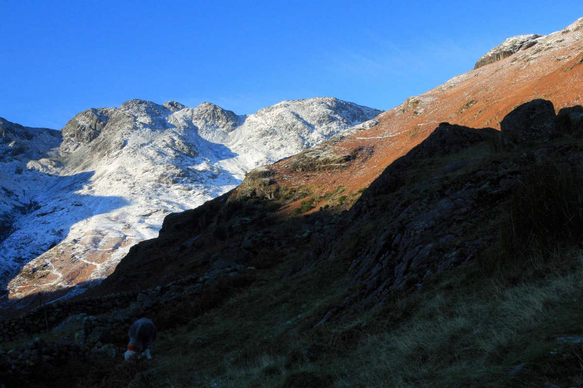 Crinkle Crags and Bowfell a classic mountain walk in the Lake District. Guided by Mountain Explorer